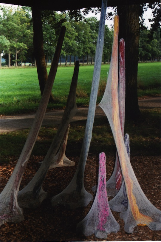 A large outdoor textile installation