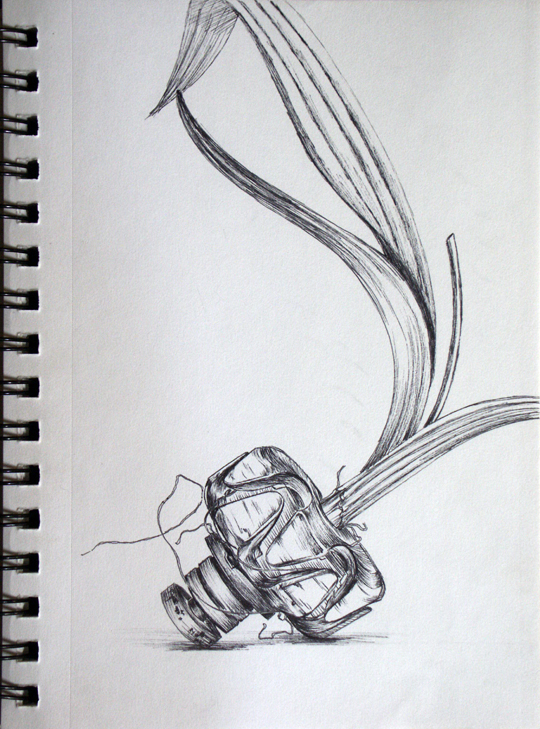 A sketch by textile sculptor and artist Wendy Moyer