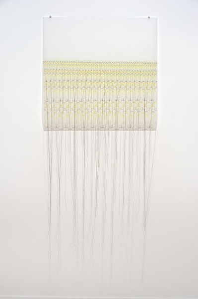 """Lisa Soloman - Sanjusangendo crowns [gold], 2013, colored pencil and embroidery on Duralar, 28"""" x 28"""" [paper size]"""