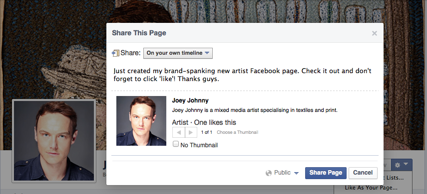 Facebook for artists - sharing your new Artist Facebook page.
