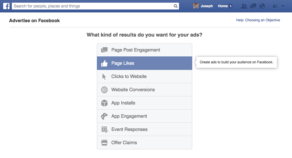 Create a Facebook ad to increase likes on your Artist page