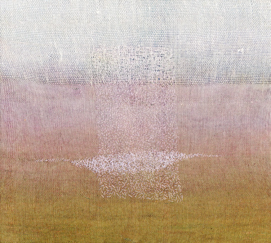 """Karen Henderson, Breathing Fog. Hand woven linen, dye painting, with stitching. 11 7/8""""W x 10 5/8""""h x 11 7/8""""w. 2007. Private Collection"""