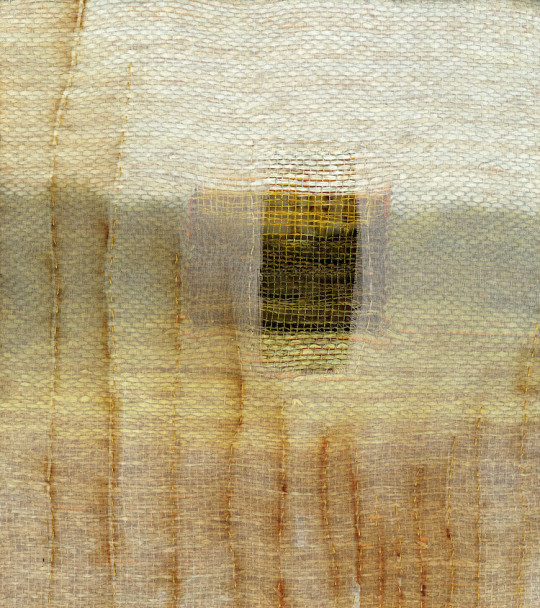 """Looking Through. Hand woven linen, paper, and bamboo; dye & discharge, collaged with rust printed silk organza, gold foil & silk with stitching. 9""""W x 9 7/8""""H. 2007. Private Collection"""
