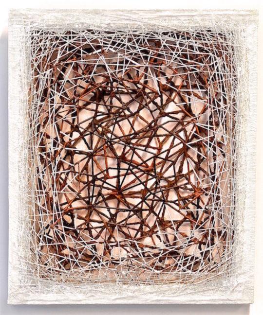 "Atsuko Chirikjian, Nested, 2015, 20""x 25""x1.5"", wire, paper, stick, thread, gauze"