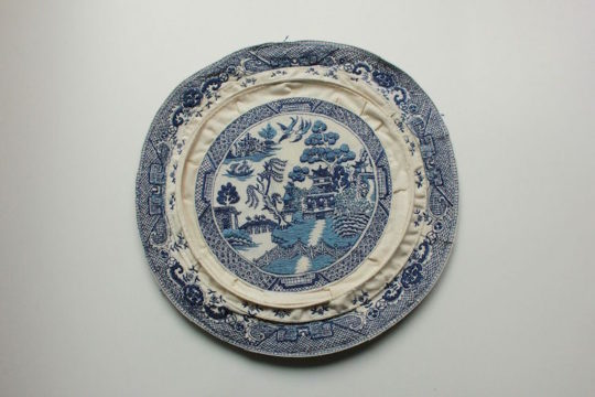 "Jessica Tang, Blue Willow Plate, 2016, 11"" in diameter"