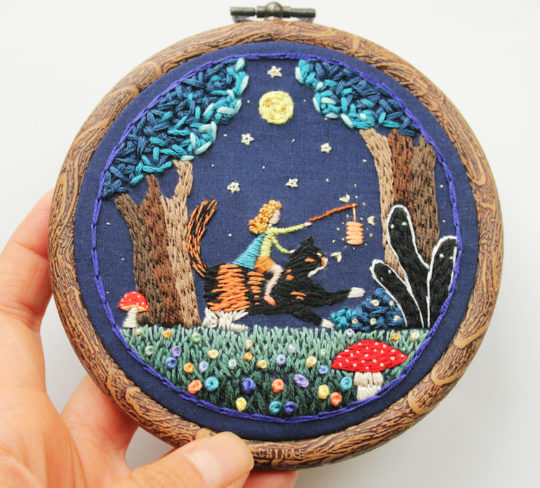 Irem Yazici, A Night in the Haunted Forest, 2016, 4'' x 4'', Hand stitch