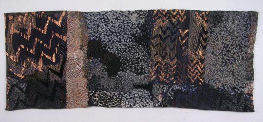 Hazel Bruce: Space/Pattern, 2018, Linen, cotton, velvet. Collage, Irish machine stitch, hand stitch