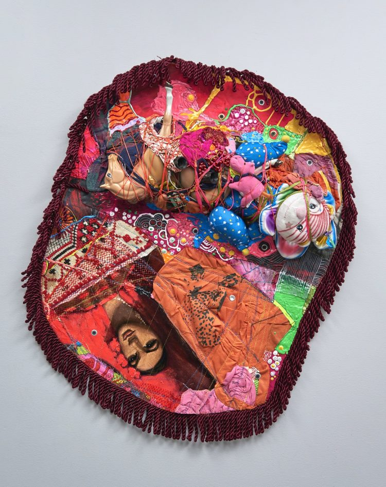 Julie Peppito: Throw-Away Rug, 2016, Oil paint, gouache, acrylic, paint, fabric paint, thread, found objects, trim, lace and grommets, on canvas