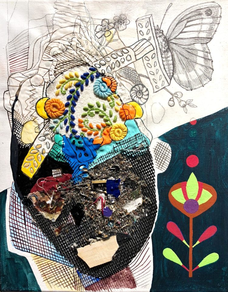 Julie Peppito: Under Water, 2018, Gouache, found objects, thread and acrylic on canvas