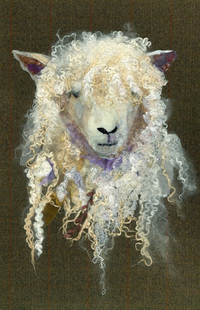 Barbara Shaw: Cotswold Sheep #1, 2007, Fabric scraps including lace, chiffon, organza, cotton, silk and sparkly material as well as wool. Grey thread to hand stitch the pieces together in layers