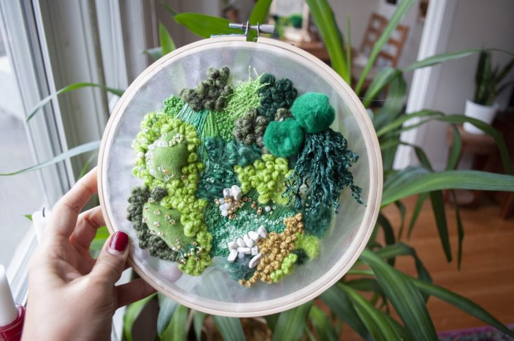 """Amy Louise Baker: Moss Cluster, 2019, 8"""" x 8"""", Embroidery, Felting, Beading"""