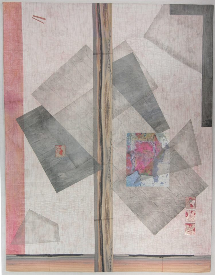 Peggy Brown: Angled, 2018, 50 x 39, Silk, paper, digital transfer, watercolor paint.  Painted, collaged and quilted