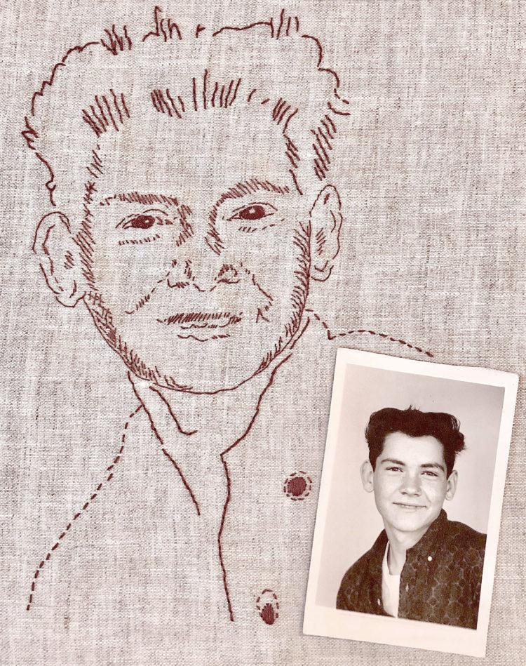 Maude May Hand stitched portrait