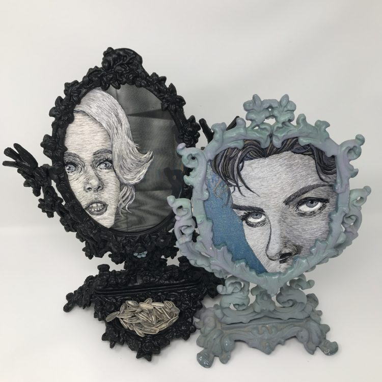 """Catherine Hicks: Montage of Portraits Embroidered on Mirrors - Tippi Hedren and Ingrid Bergman, 2019, 14"""" X 11"""", 13"""" X 9"""", Silk hand embroidery on mirrors in antique frames"""