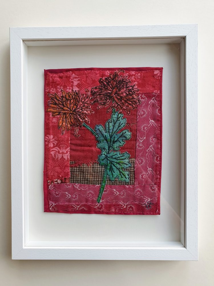 Hannah Rae: Chrysanthemums in Granny's Attic, 2019, 28 x 36cm, Hand painted cotton and linen with hand stitch, printed silk machine stitch appliqué