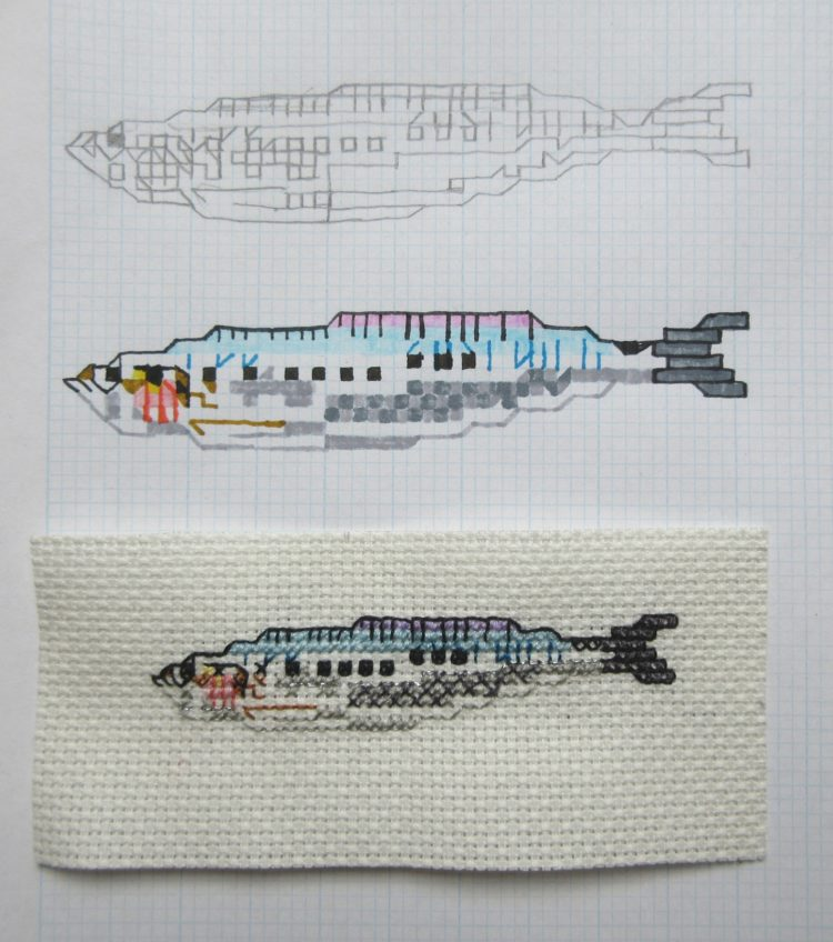 Reena Makwana: Sardine, 2018, The embroidery is 11cm long, 5 cm wide, Cross stitch (graph paper, pen and colour pencil for the sketches)