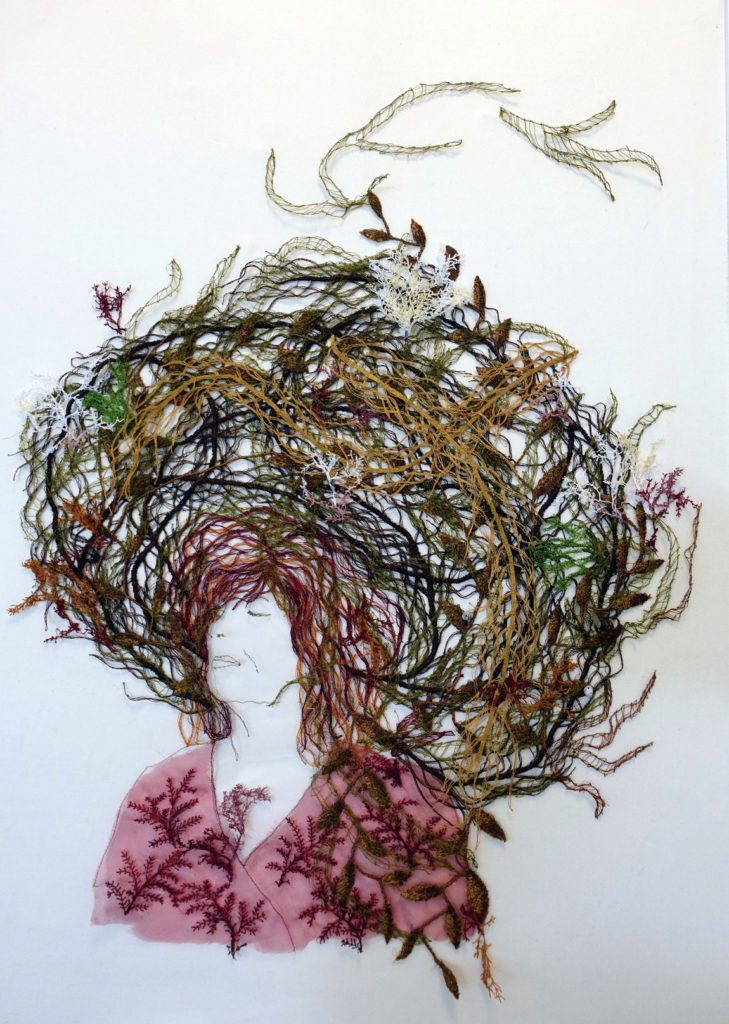 Sharon Peoples: The Seaweed Collector, 2020, 63 x 93 cm, machine embroidery, nylon, rayon polyester thread