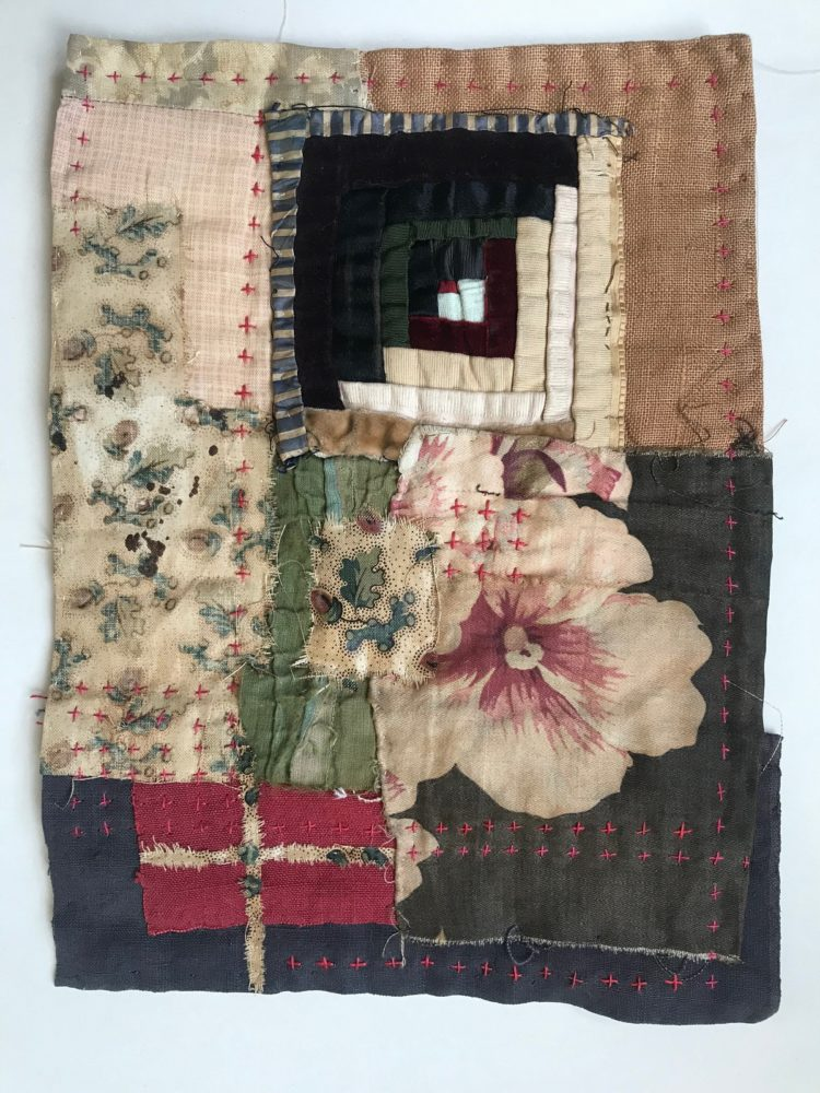 Mandy Pattullo: From Tiny Acorns (2020), 26 x 18 cm. Textile collage using antique materials.
