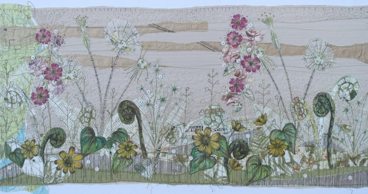 Anne Brooke: Walk on the canal (2018), 100cm x 50 cm. Various papers and stitch.