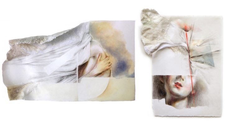 """Sonia Aniceto: Replis/Silence IV, 2019, 45 x 28 cm / 47 x 39 cm, Colour pencil, oil painting, free machine embroidery, hand embroidery with cotton thread on """"drop paper"""""""