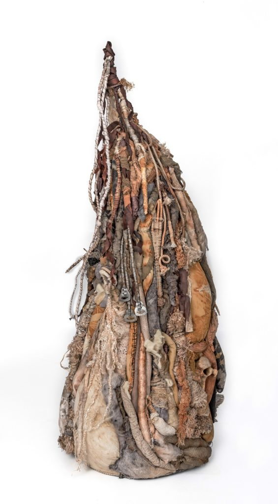"""Clarissa Callesen: Mountain of Prayers, 2017, 43"""" x 18"""" x 17"""", Recycled textiles, bone, willow, leather, and found objects"""