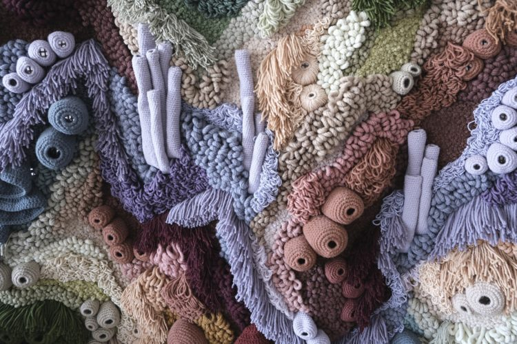 Vanessa Barragão: Coral Garden, 2020, 100% recycled wool, latch hook, crochet & carving