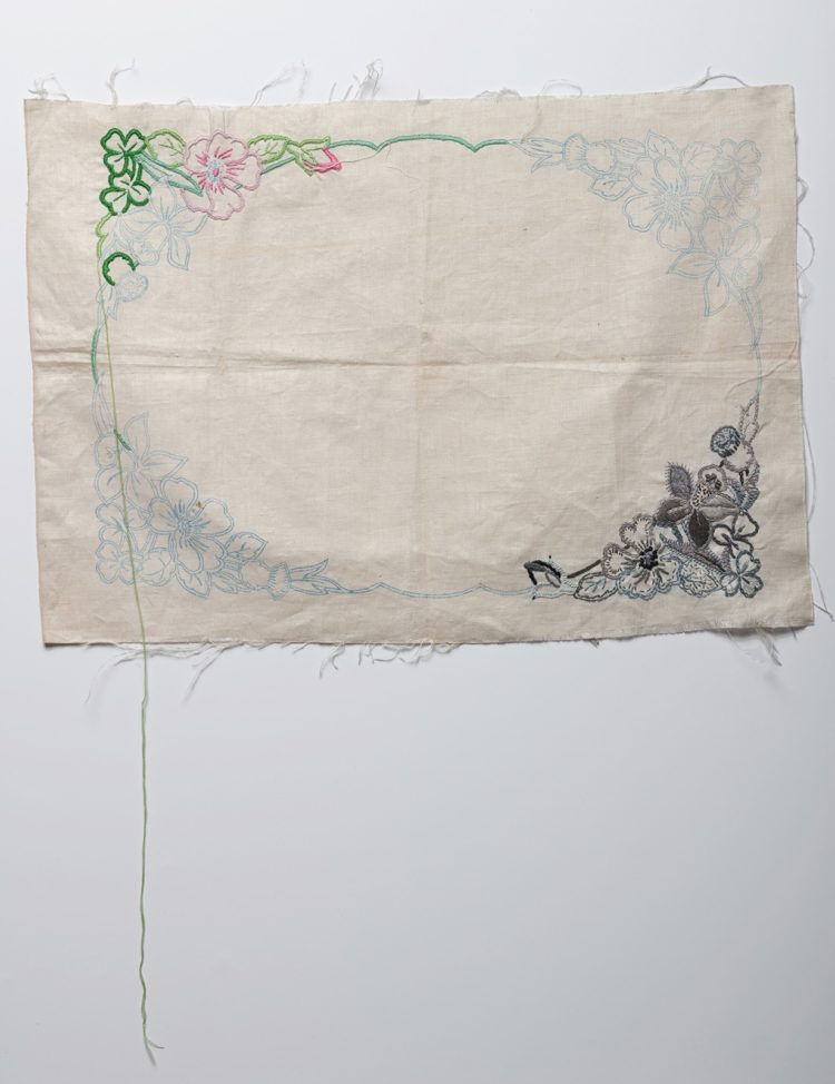 Ruth Singer: Unfinished, 2019, 33cm wide, Found embroidery, hand stitch. Photo credit: Paul Lapsley