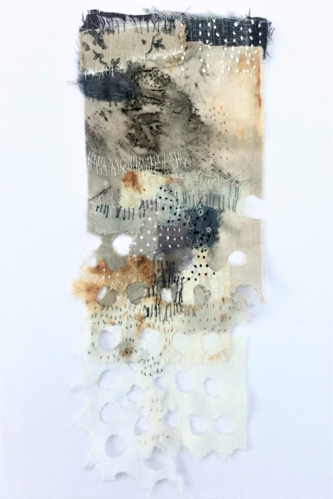 Shelley Rhodes: Daily stitch practice to create one piece a week, 2021, 28 cm x 10 cm, Fabric scraps and stitch