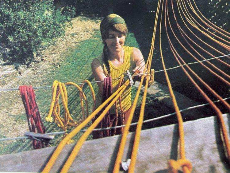 Janet Brereton dyeing rope in 1970