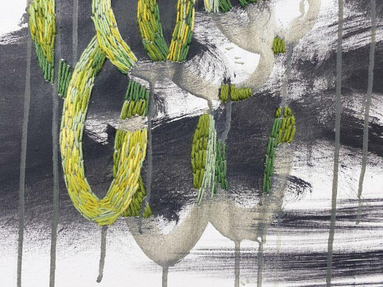 Kurt Brereton: Mangrove Fragments (Detail), 2020, 92 x 122cm, oil, acrylic, embroidery on canvas