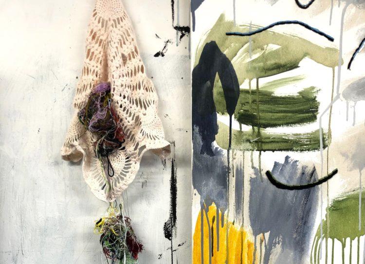 Kurt Brereton: Currarong Mangroves (Detail), 2019, 137 x 183cm, oil acrylic embroidery on canvas