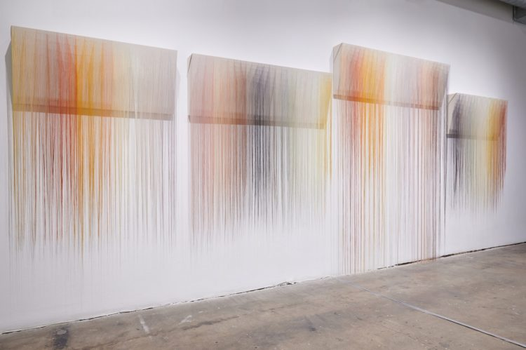 """Nike Schroeder: Sequence 1, 2020, 19' x 20"""", emboidery, rayon on canvas"""