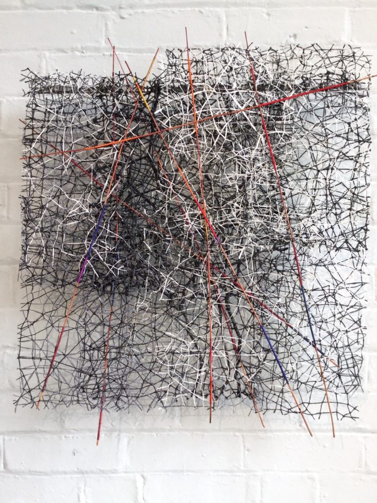 Jean Draper: Restricted Access, 2019, 60cm x 50cm, Wrapped sticks and stitched paper threads arranged in layers