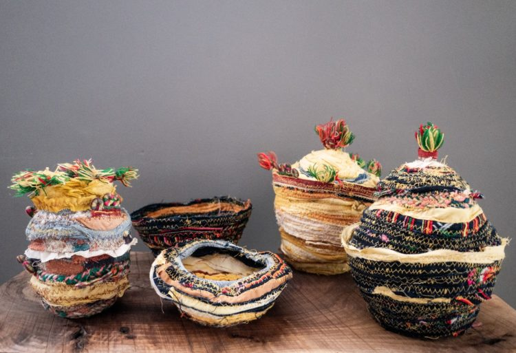 Emma Cassi: Collaboration with TextileSeekers, 2020, Various, Series of 5 fabric baskets made with curcuma and indigo handdye textile from Vietnam.